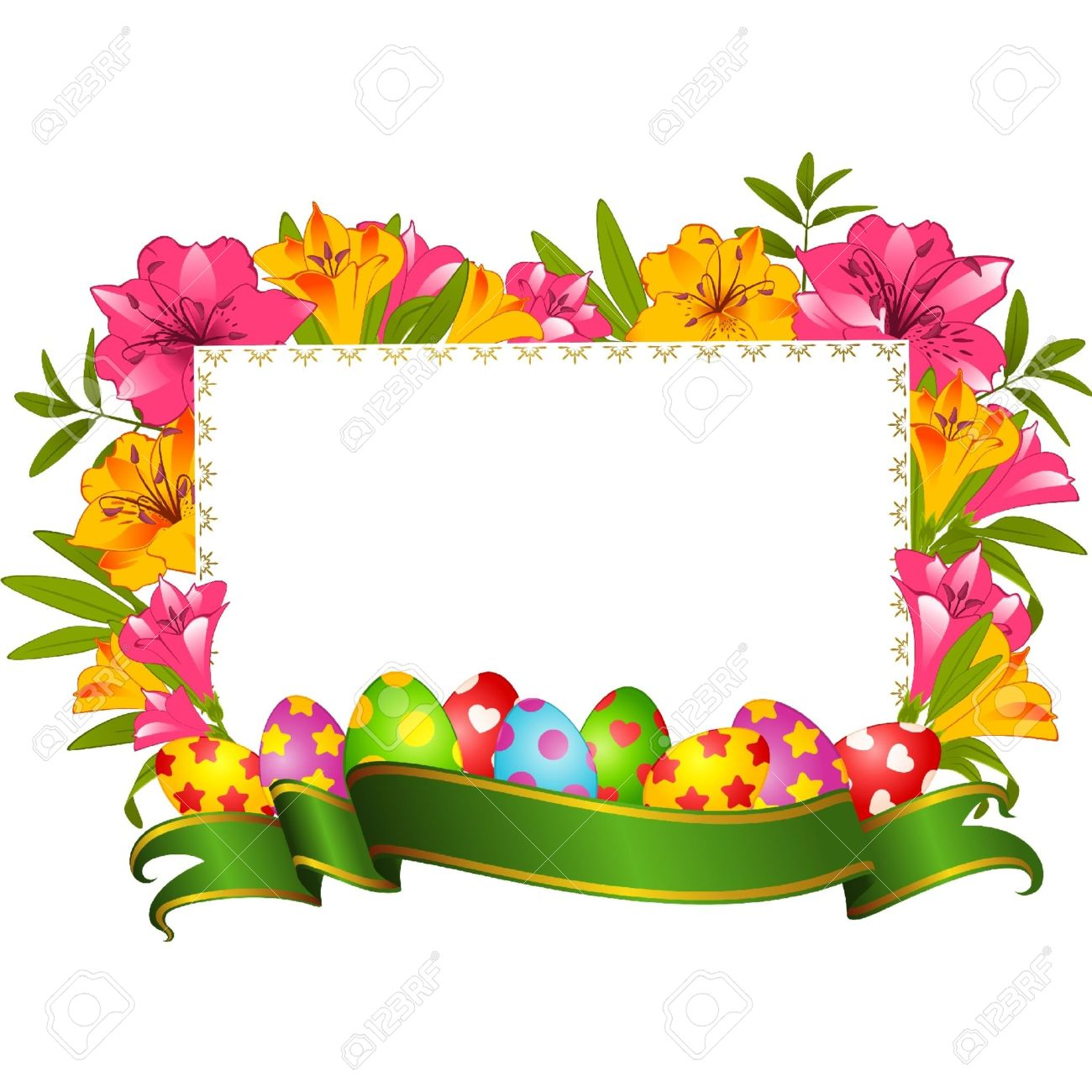 Eggs With Ribbon And Flowers. Easter Vector Card Royalty Free.