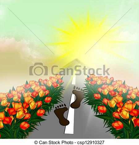 Clip Art of The next person on the road. Flower.