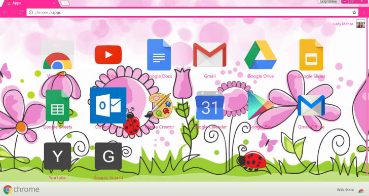 Pink flower road Chrome Theme.