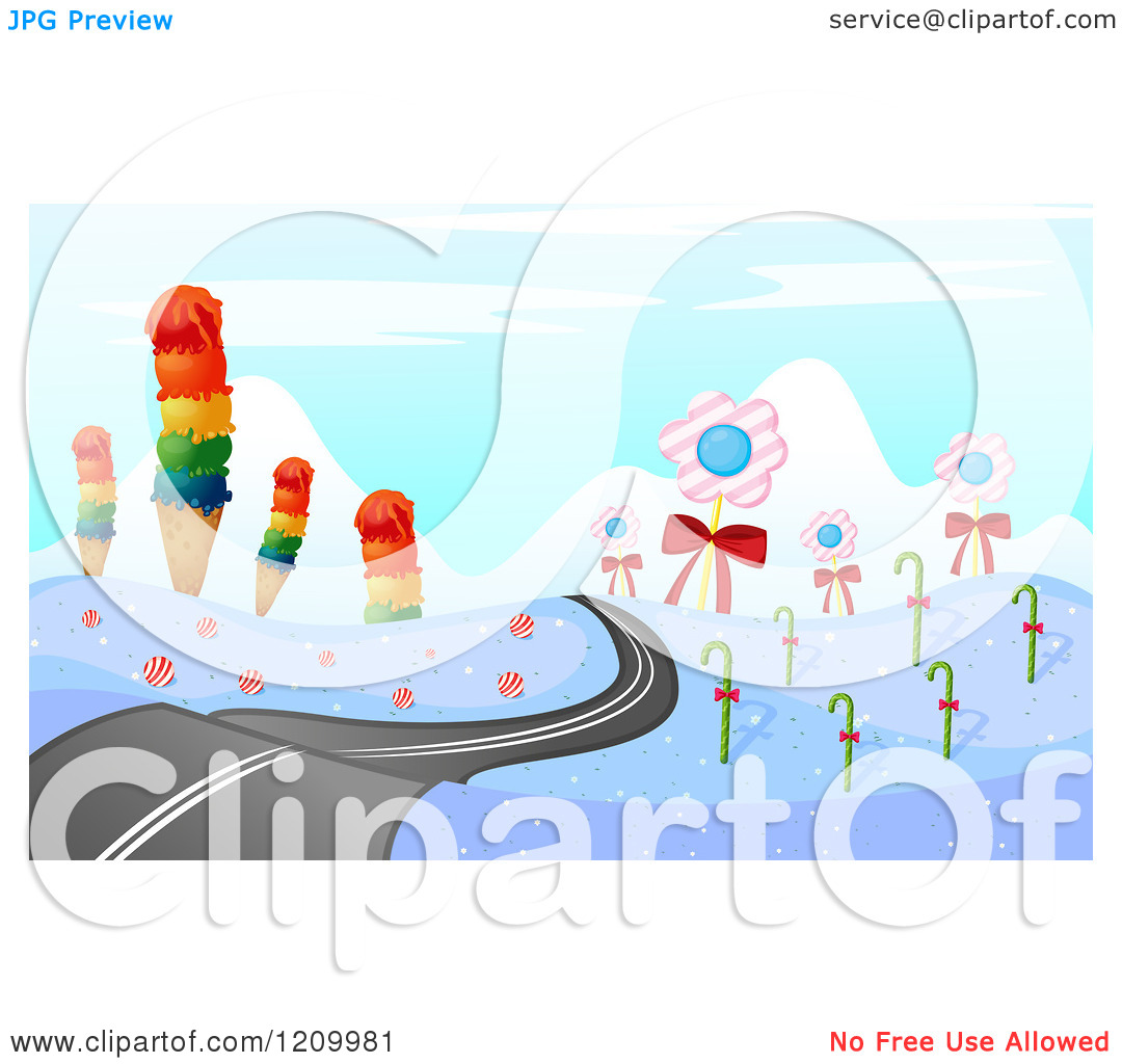 Cartoon of a Winter Road and Landscape with Ice Cream Cones Candy.