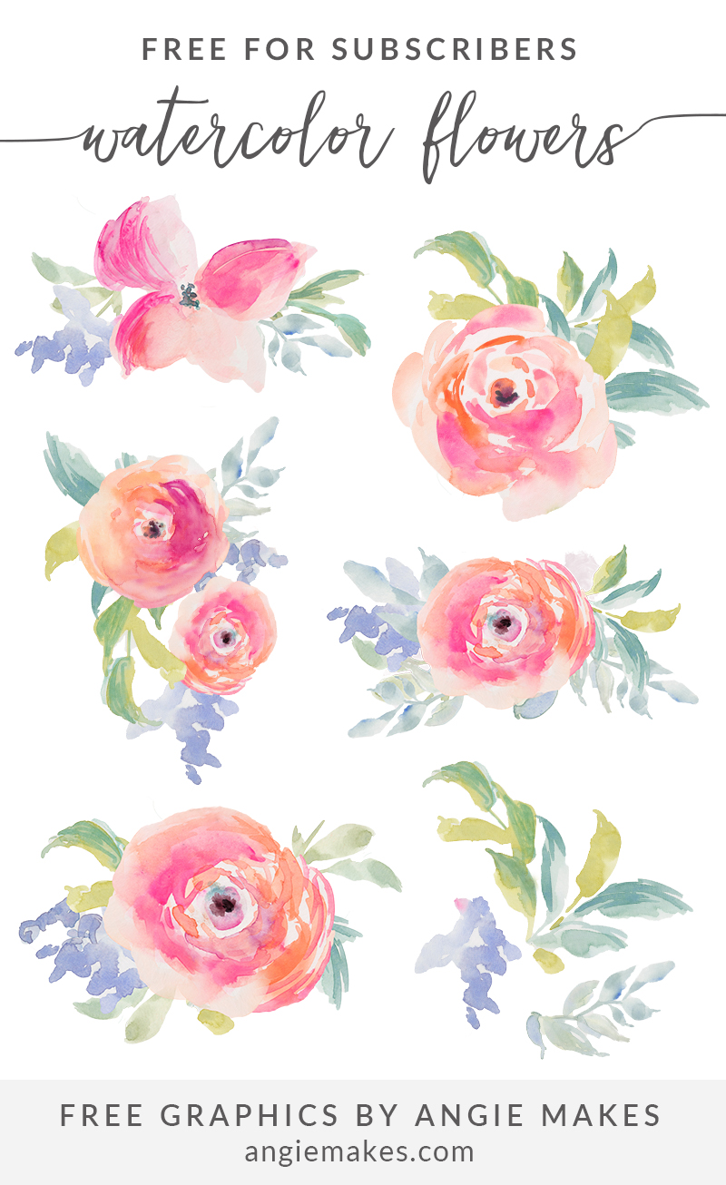 Watercolor Flowers Clip Art.
