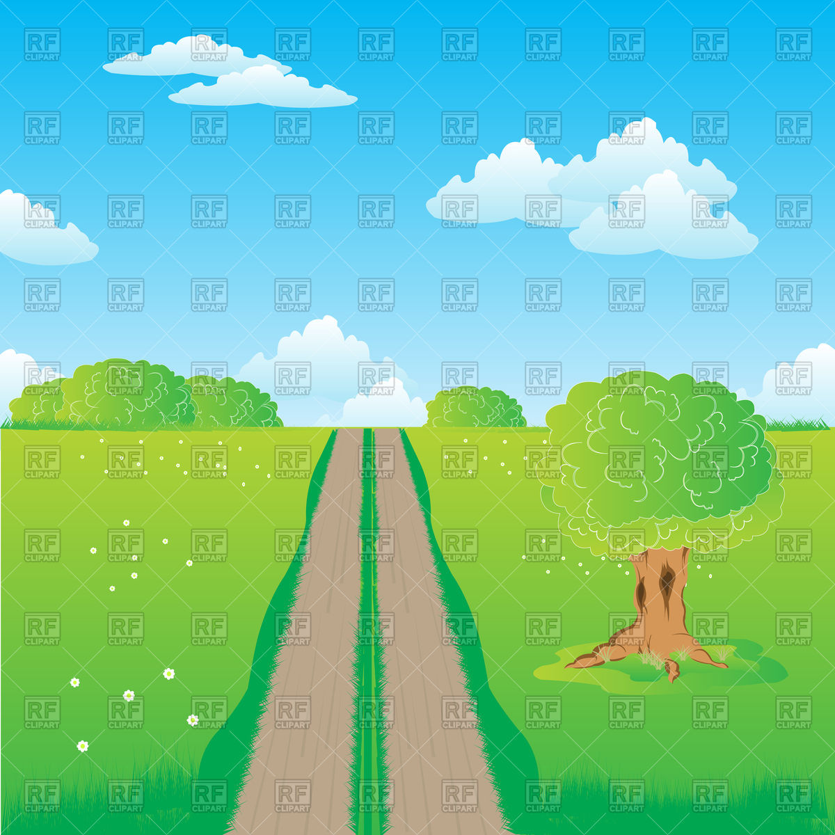 Rural road in field with flower Vector Image #91974.