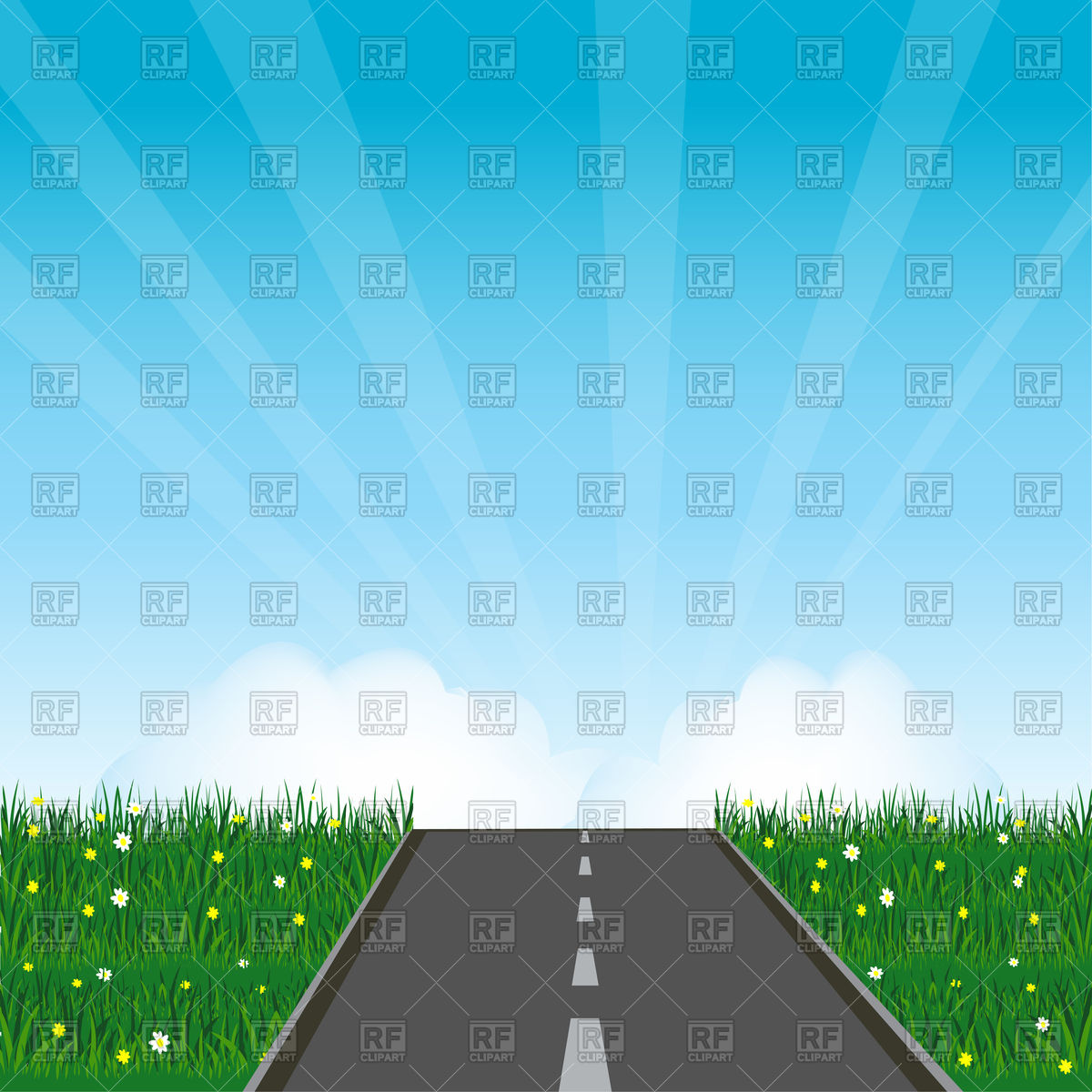 Asphalt road in green field with flower Vector Image #91363.