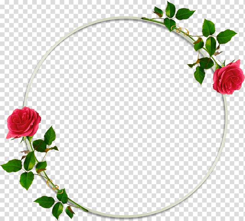 Red flowers illustration, Frames Flower, round frame.
