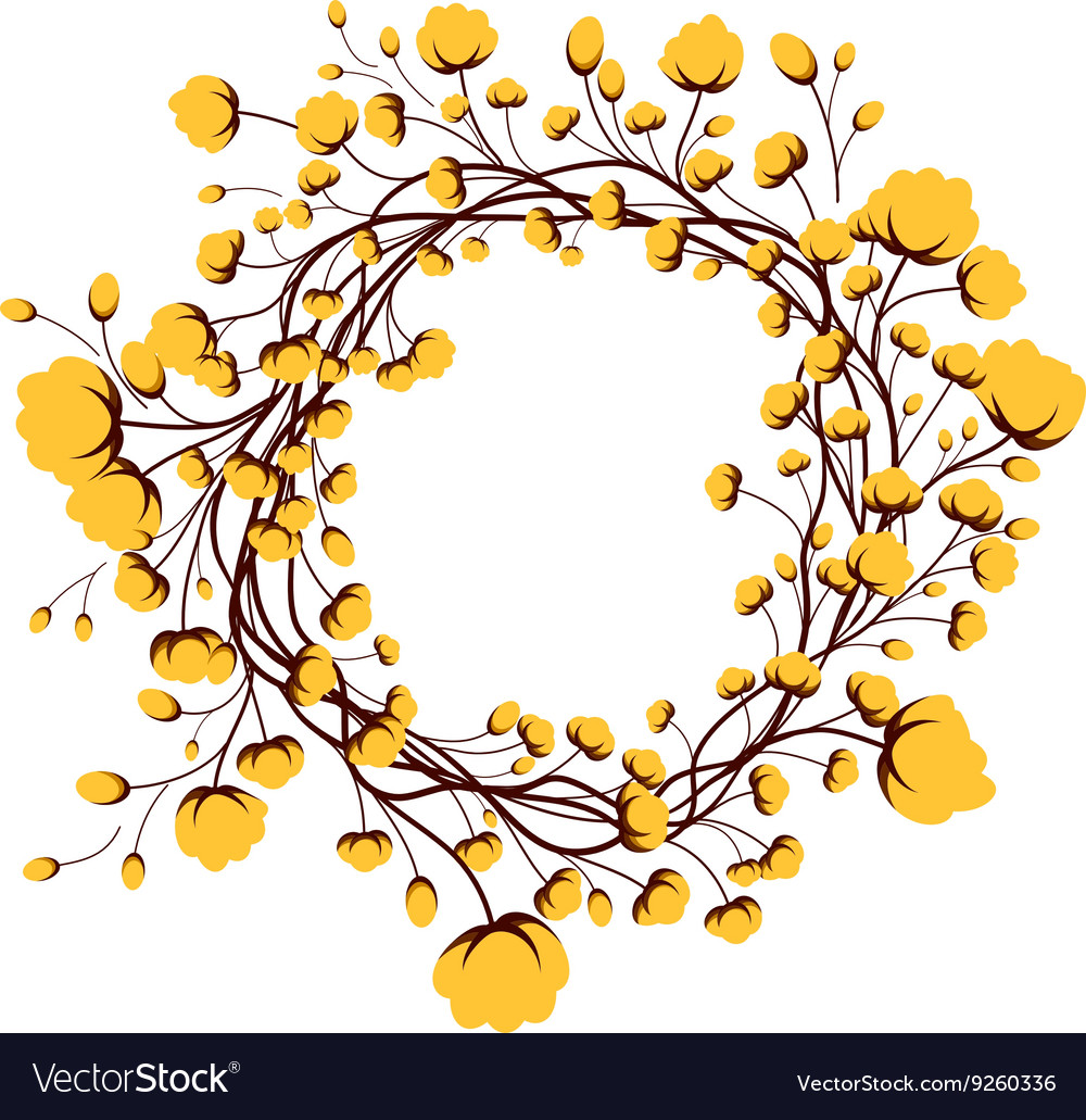 Yellow round frame flower.