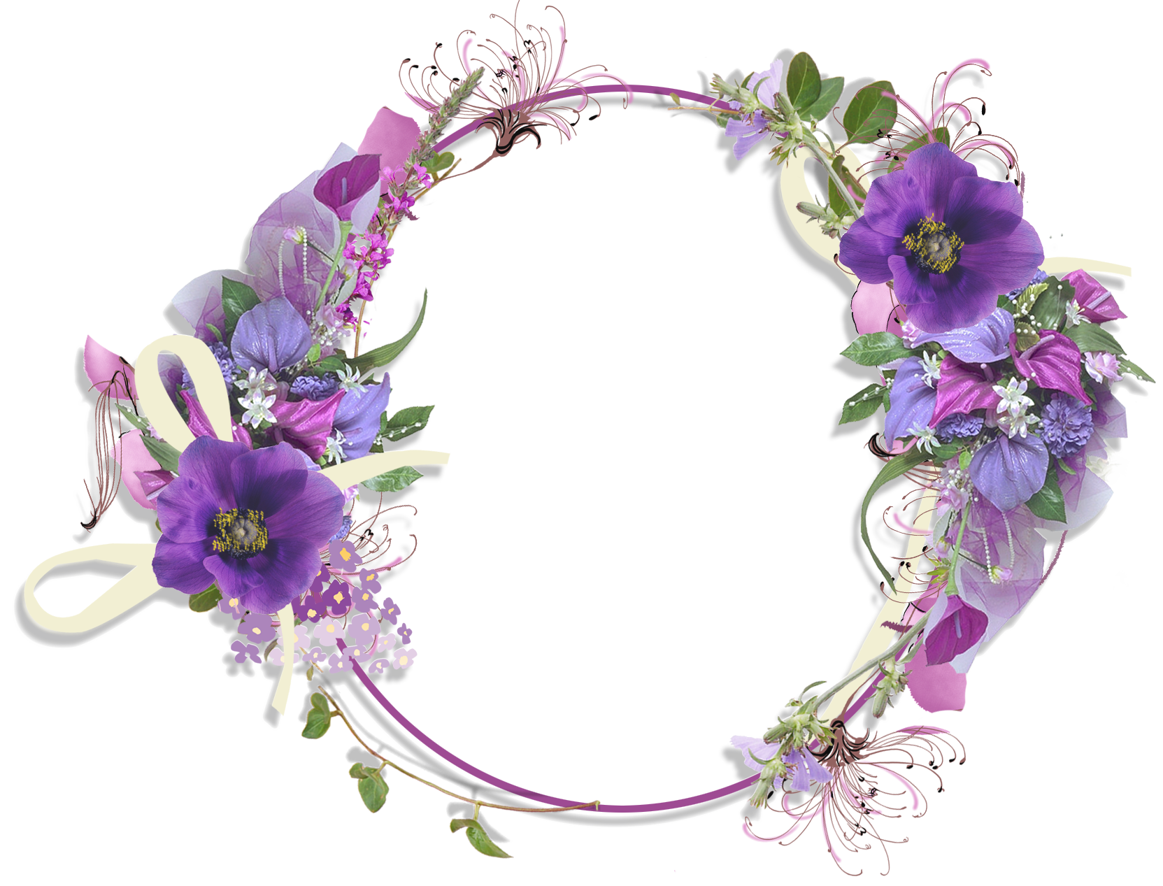 Purple Flower Round Frame.