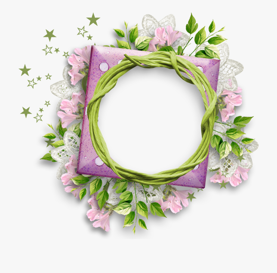 Purple Flower Clipart Round Flower Frame.