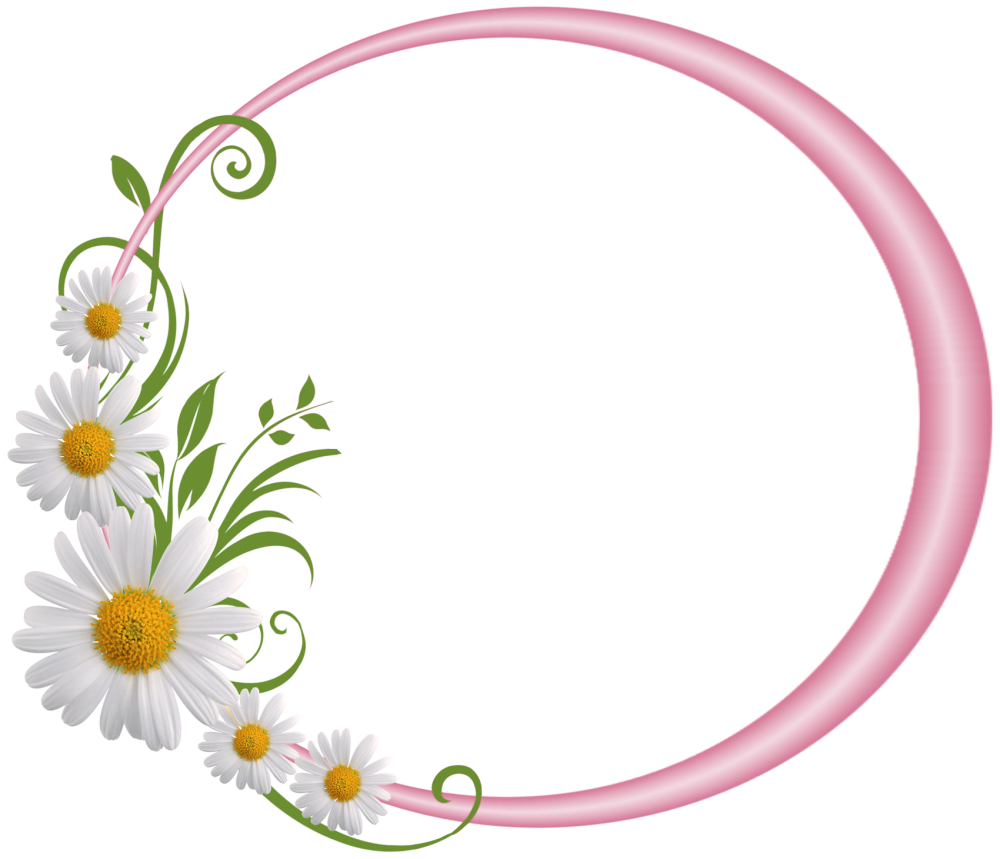 Download Floral Round Frame PNG File For Designing Projects.