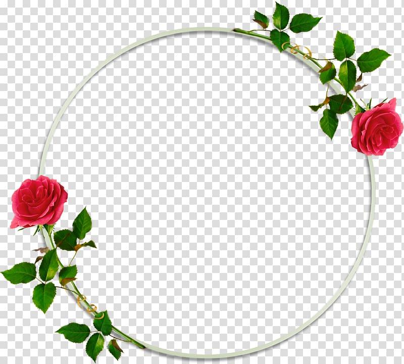 Red flowers illustration, Frames Flower, round frame transparent.