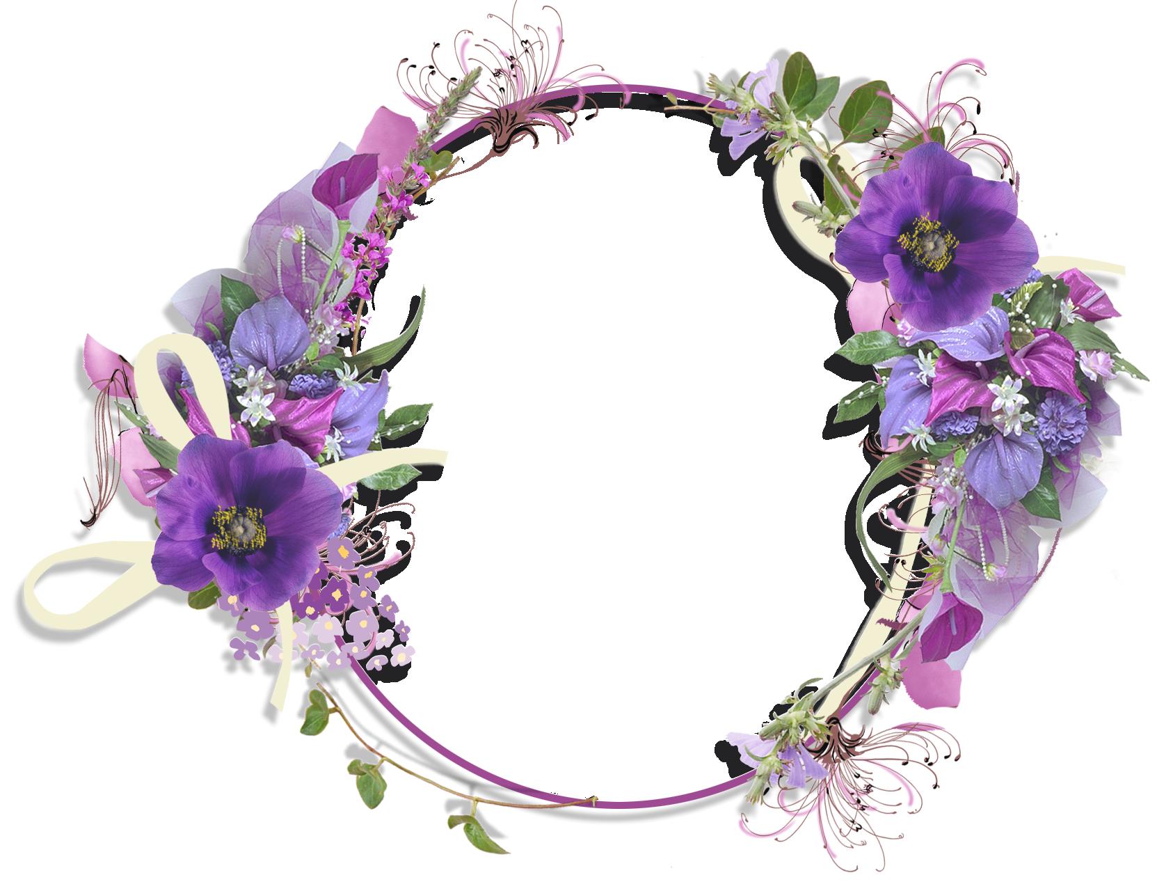 Purple Flower Round Frame.