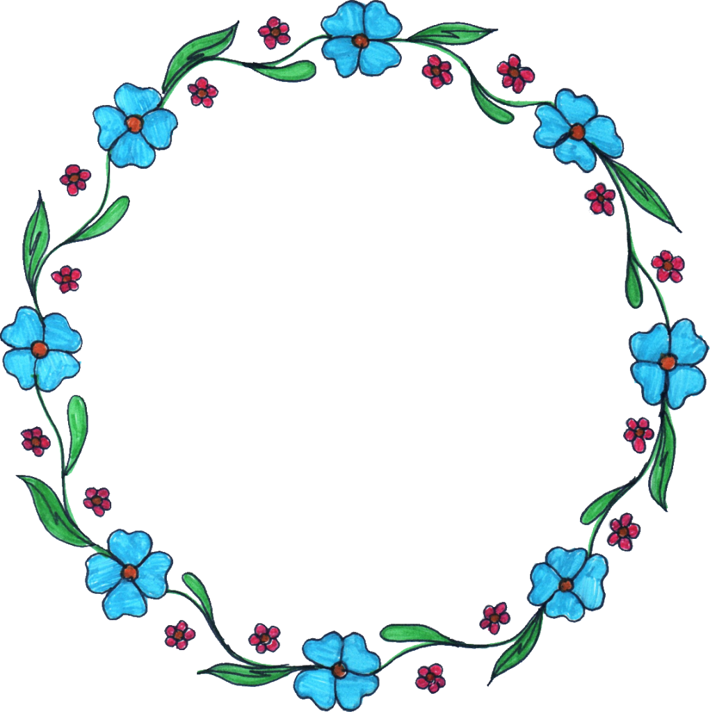 8 Circle Flower Drawing Frame (PNG Transparent).