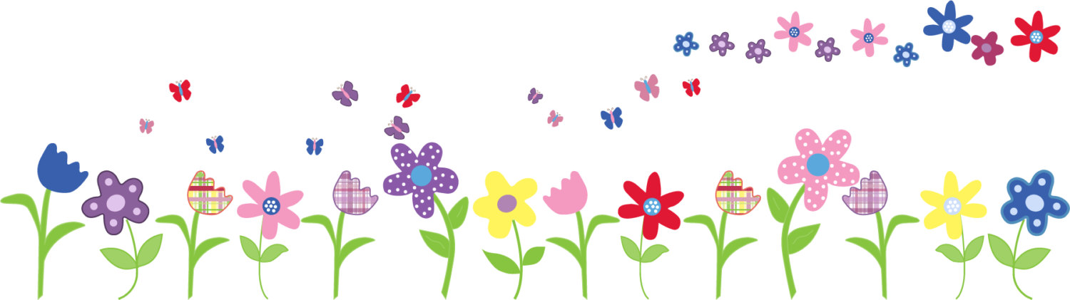 Flower clip art row.