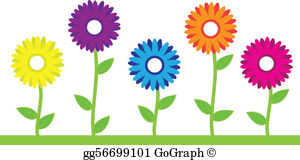 Flower Row Clip Art.