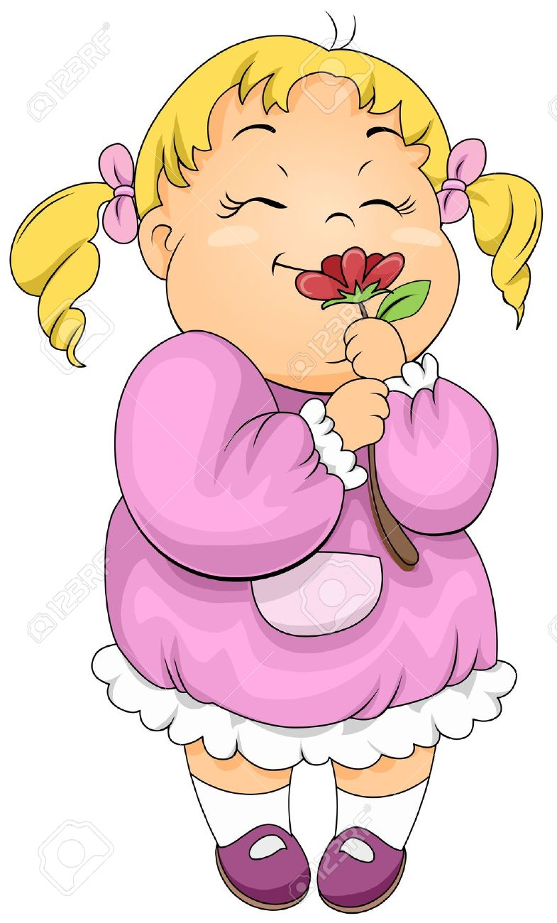 Smelling Flowers Clip Art.