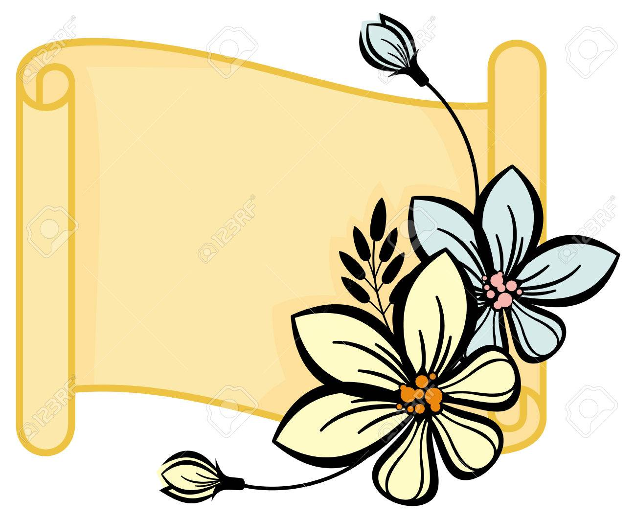 Horizontal paper scroll with flowers.
