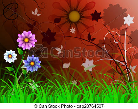 Stock Illustration of Flowers Background Means Petals Shoots And.