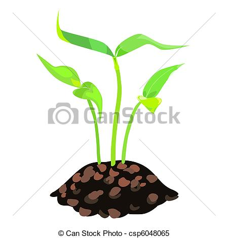 Clipart Vector of vector green sprouts in the land.