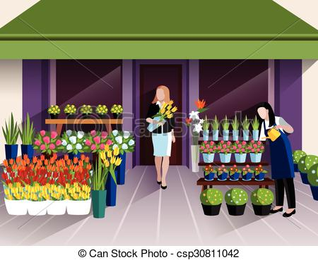 EPS Vector of Flower shop entrance banner.