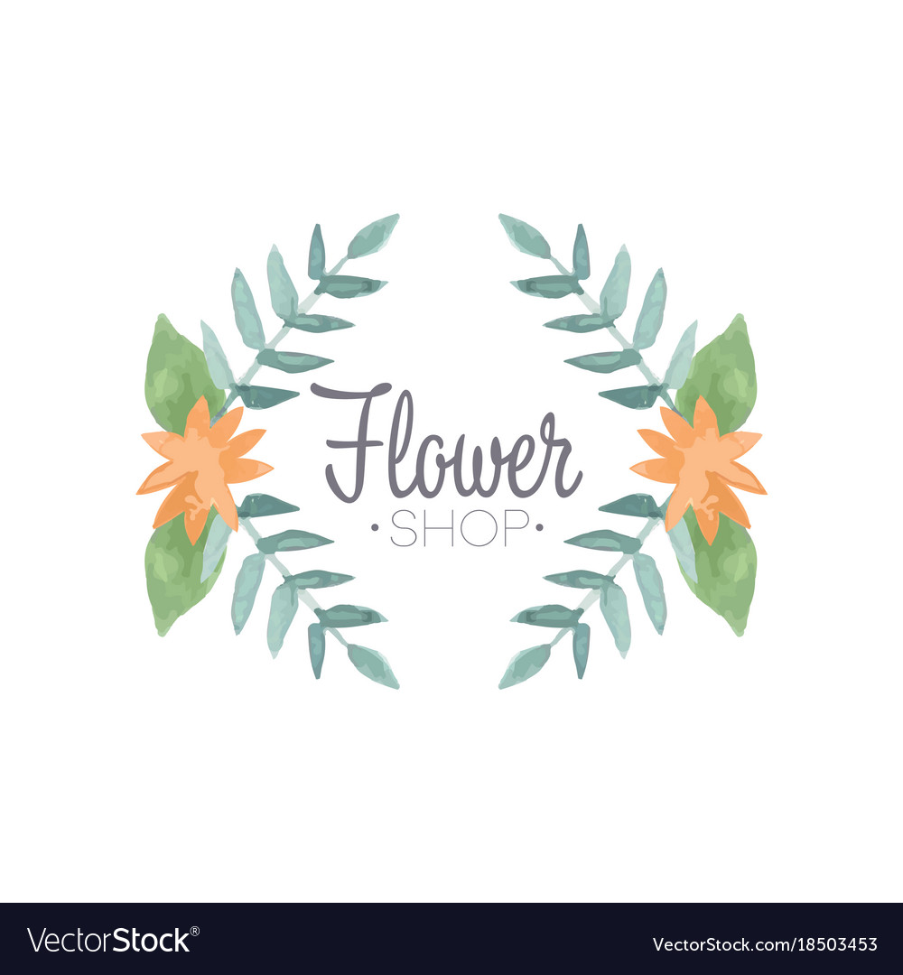 Flower shop logo badge in vintage style for.