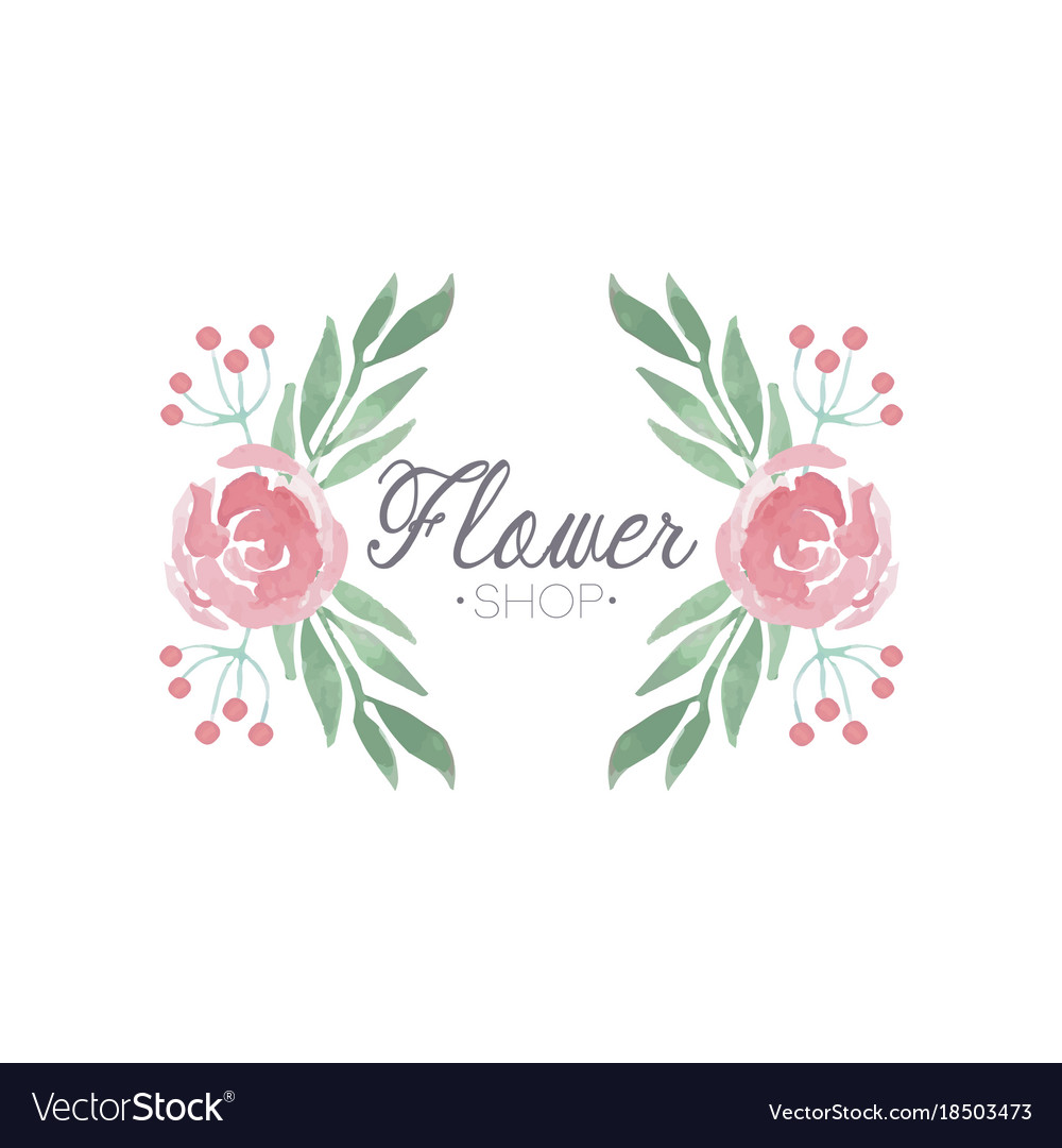 Flower shop green and pink colorful logo label or.