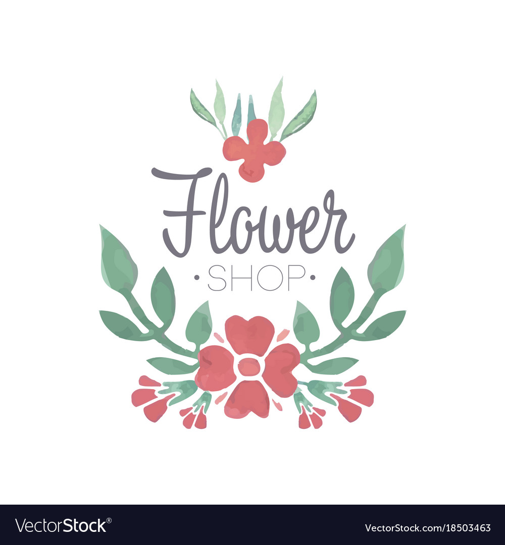 Flower shop green and red logo template label or.