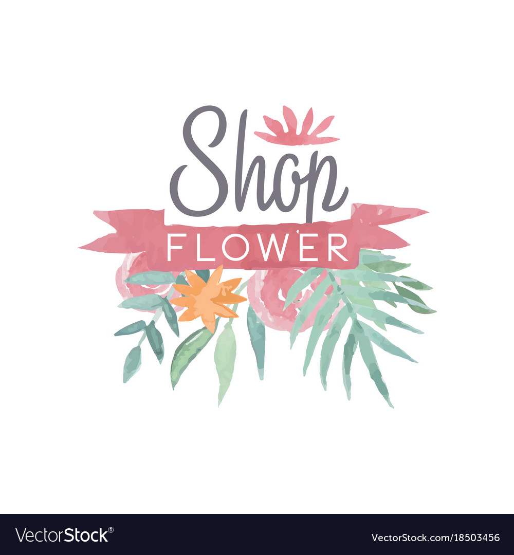 Flower shop colorful logo template with ribbon.