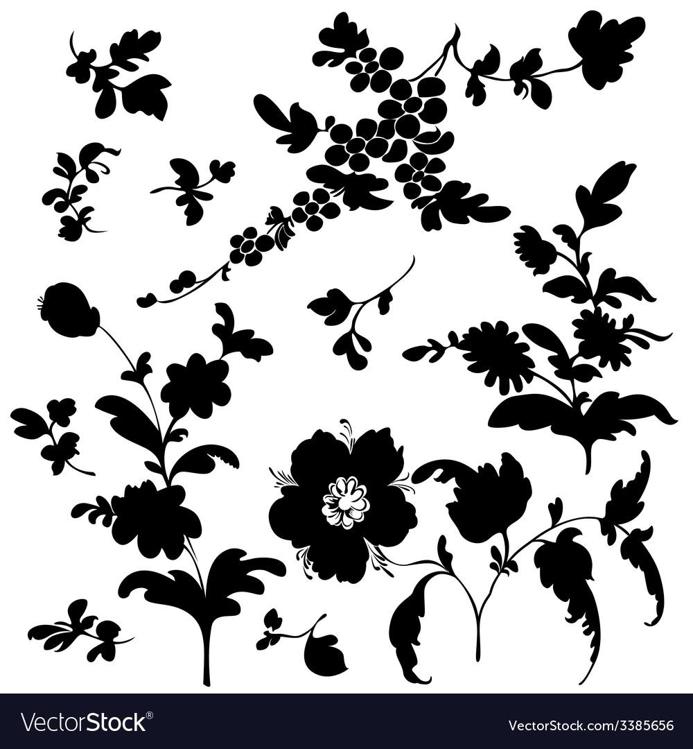 Set silhouette flowers.