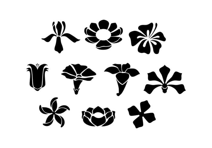 Free Flowers Silhouette Vector eps, svg file.