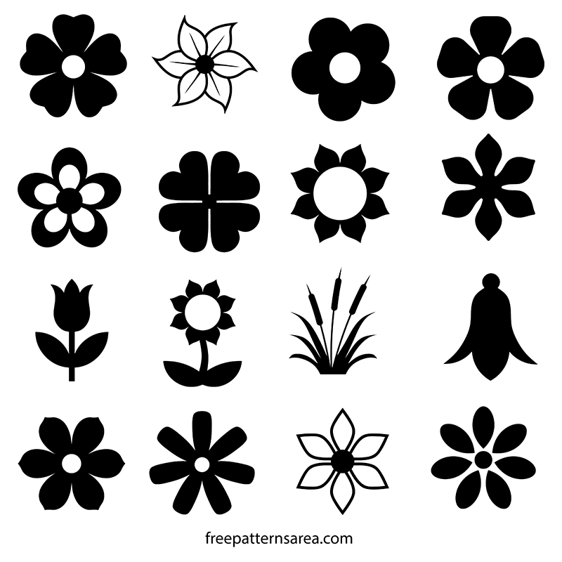 Flower Silhouette Vector and Outline Templates.