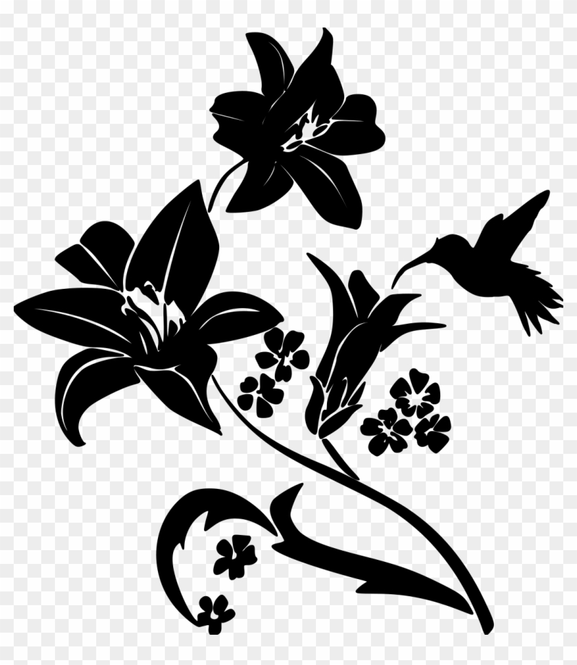 Black And White Hummingbird And Flower Silhouette, HD Png Download.