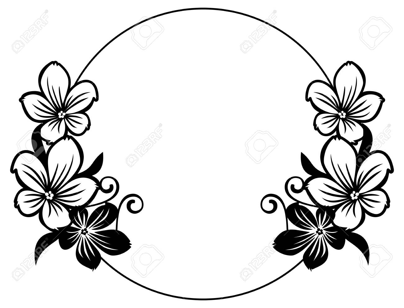 Black and white round frame with abstract flowers silhouettes.