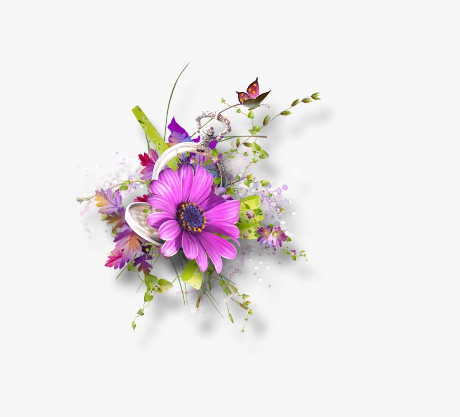Flower Spray, Butterfly Kisses, Watercolor Flowers,.