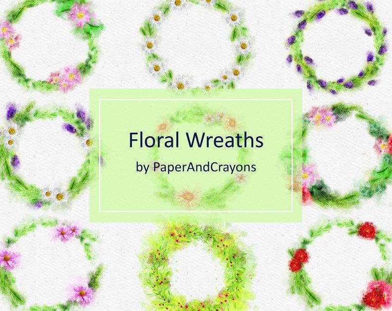 Floral Wreath Clip Art Set, Watercolor Flower Clipart, Spray Watercolor  Clipart, Pink Rose Watercolor Clipart, Commercial Use, PNG download.