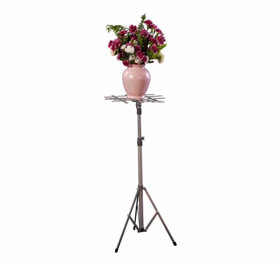 Small, Standard Combo Stand Featuring Flower Arrangement.