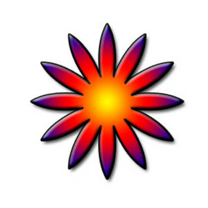 Clipart Picture of a Star Shaped, Rainbow Flower.