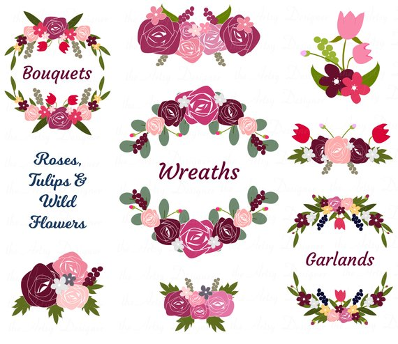 Burgundy Bordo Pink Flowers Clipart, Wedding Clipart, Roses and.