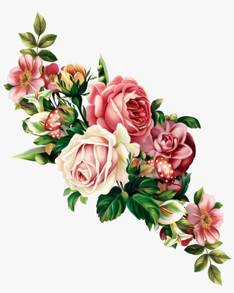 Peach Flower Clipart Floral Swag.