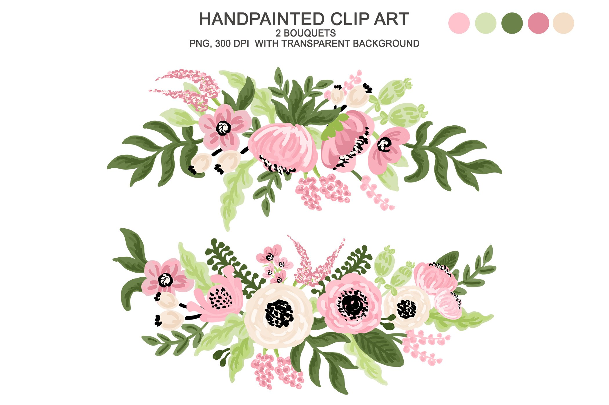 Digital Watercolor Flower Clipart.