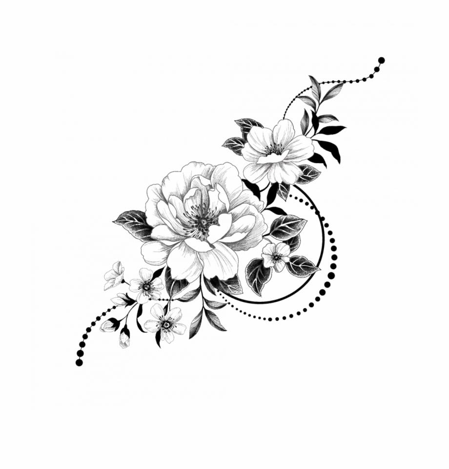 Temporary Tattoo Graphic Flowers.