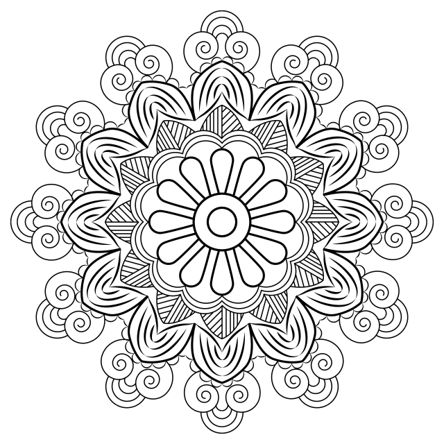 Floral Mandala Motive With Texture, Mandala, Decoration, Floral PNG.