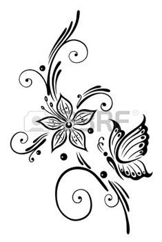 Black flowers with butterfly, tribal art photo.