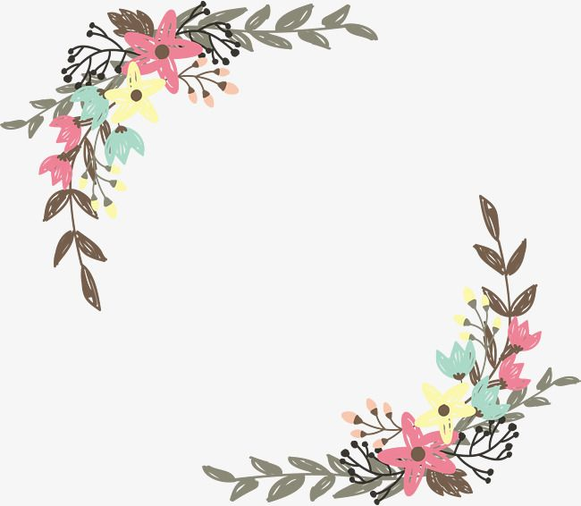 Hand Painted Graffiti Wild Flower Borders, Vector Png, Hand Painted.