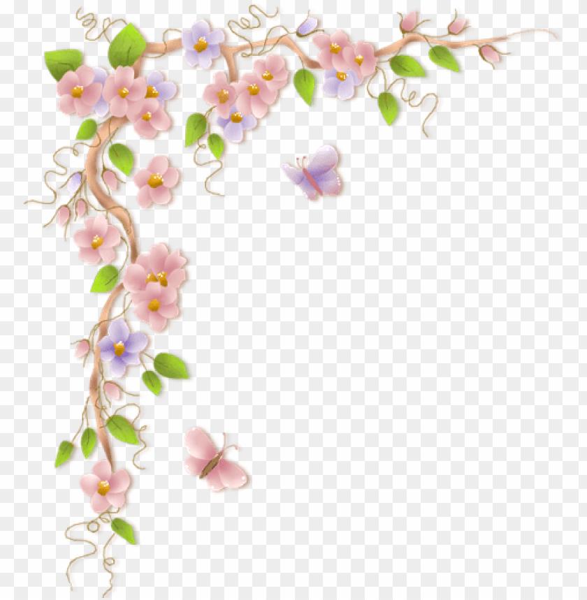 flower vine border clip art PNG image with transparent.