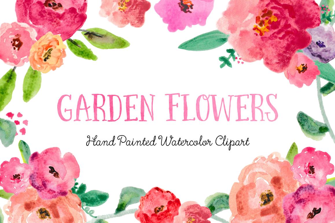 Garden Flowers Watercolor Clipart.