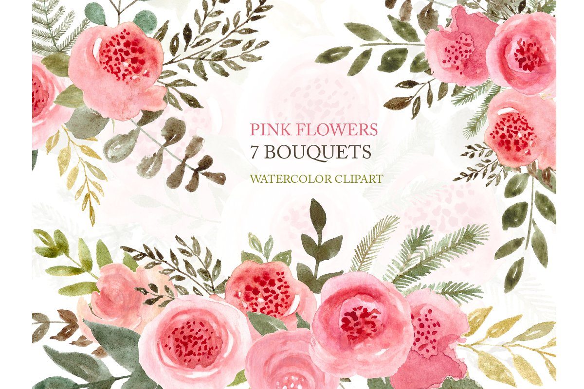 Pink Flowers Watercolor Clipart.