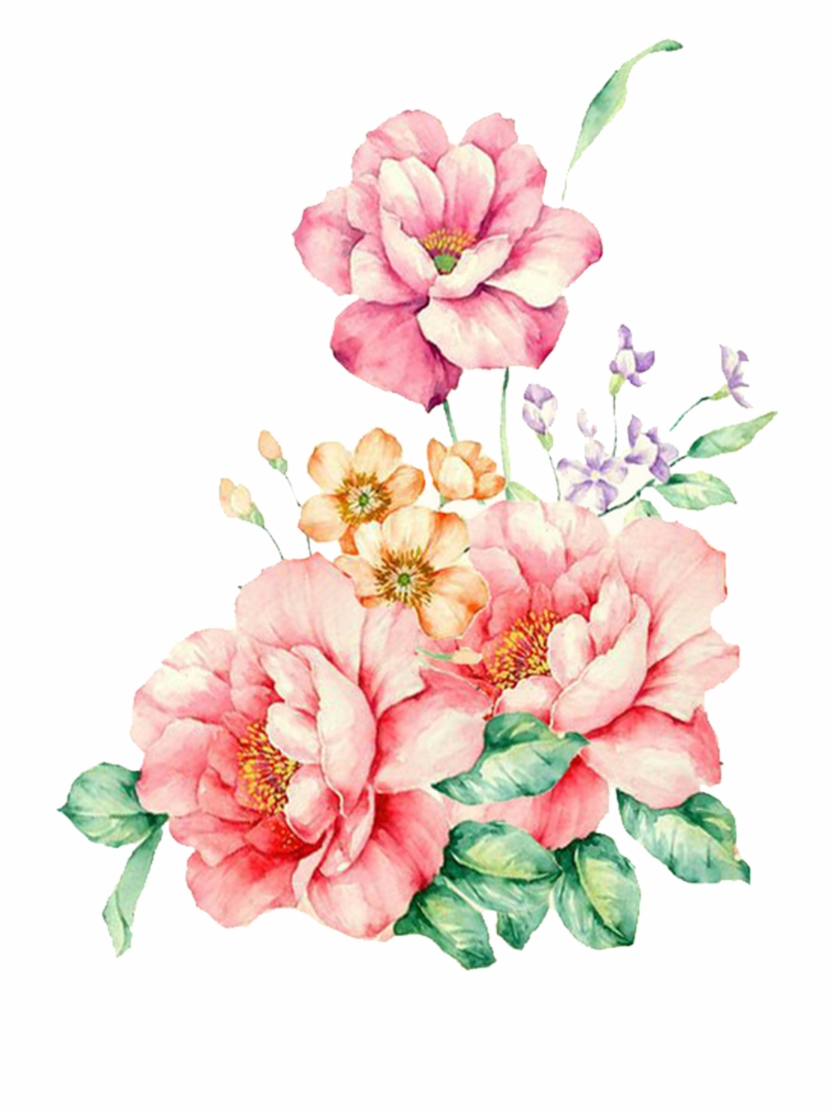 Pink Decorative Flower Watercolor Flowers Painting.