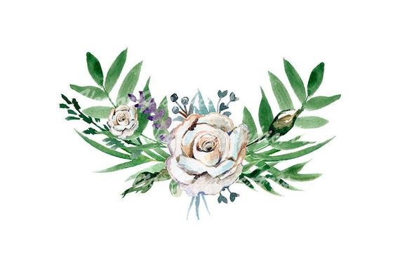 Bouquet of White Roses Flower. Watercolor floral clipart.