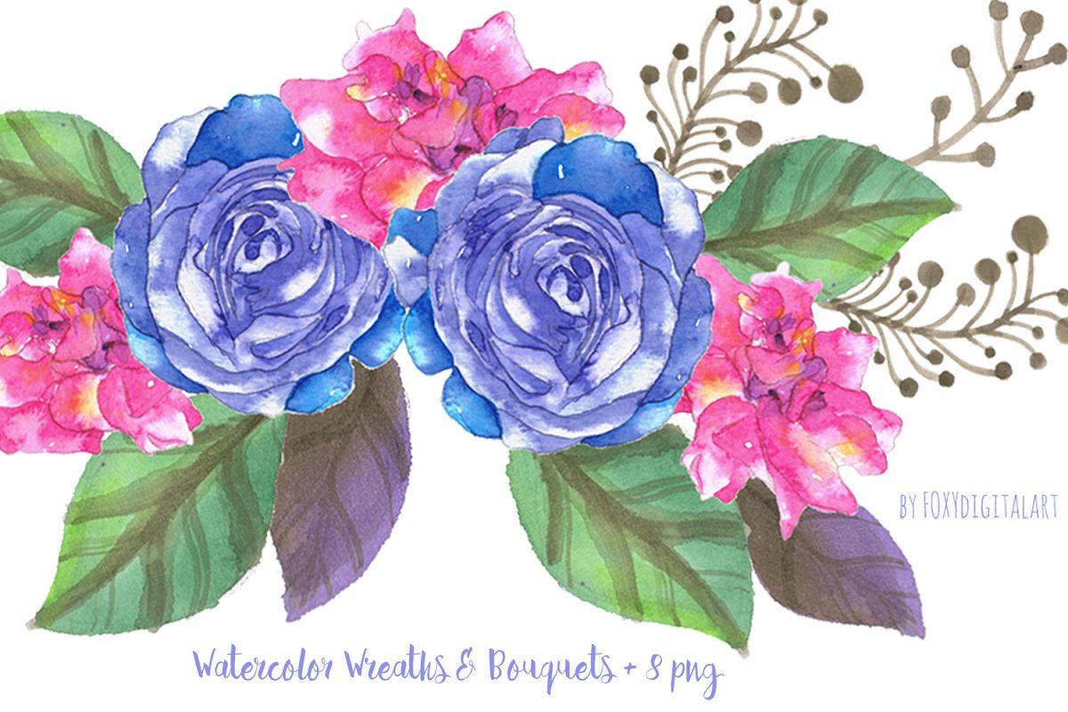 Watercolor Flowers Clipart Wedding Flowers.