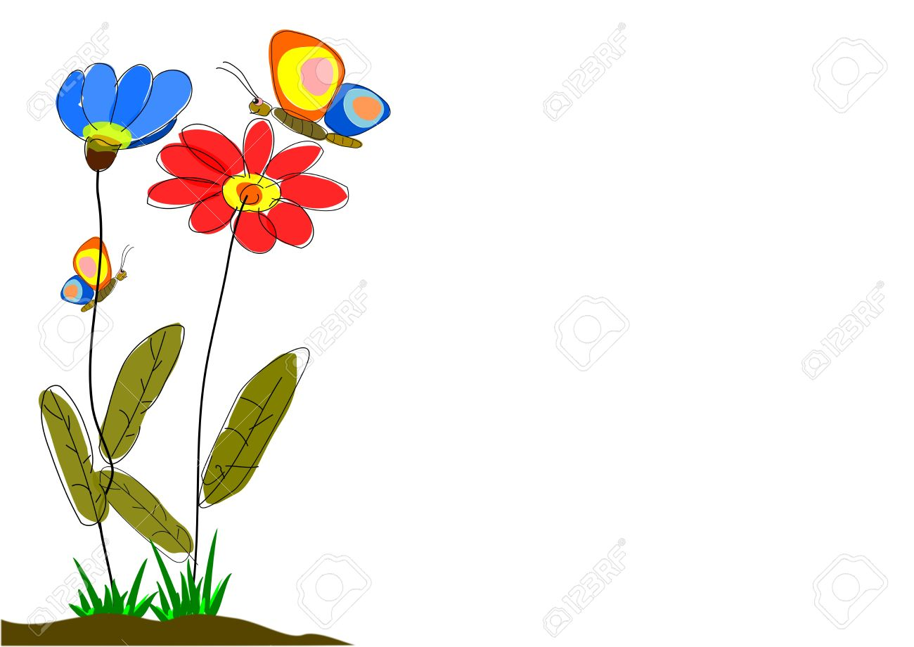 spring flowers with butterflies.