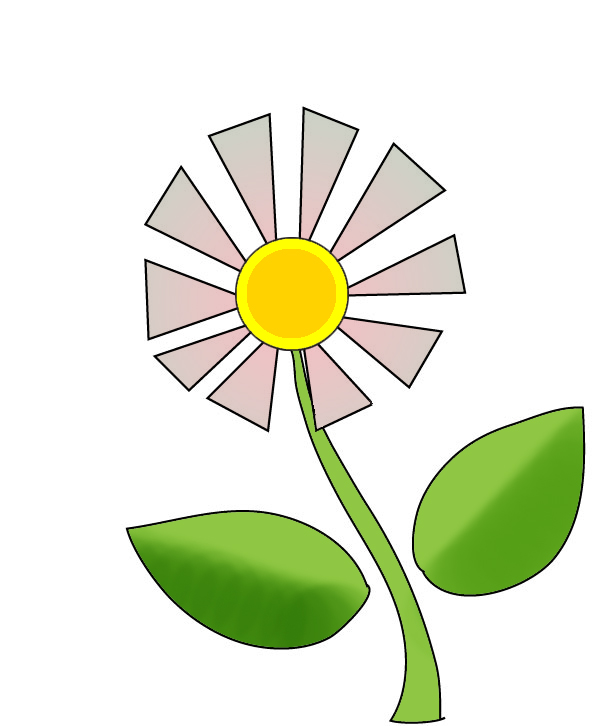 Flower with leaf clipart.